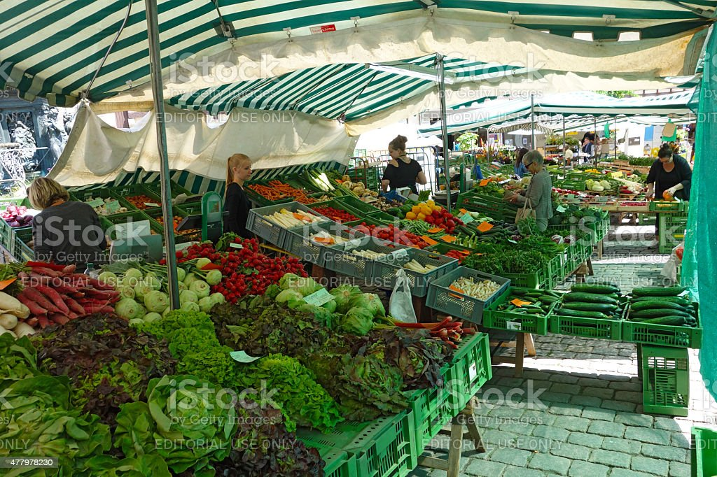 Huge vegetable and fruits stand on the market square T?bingen stock photo