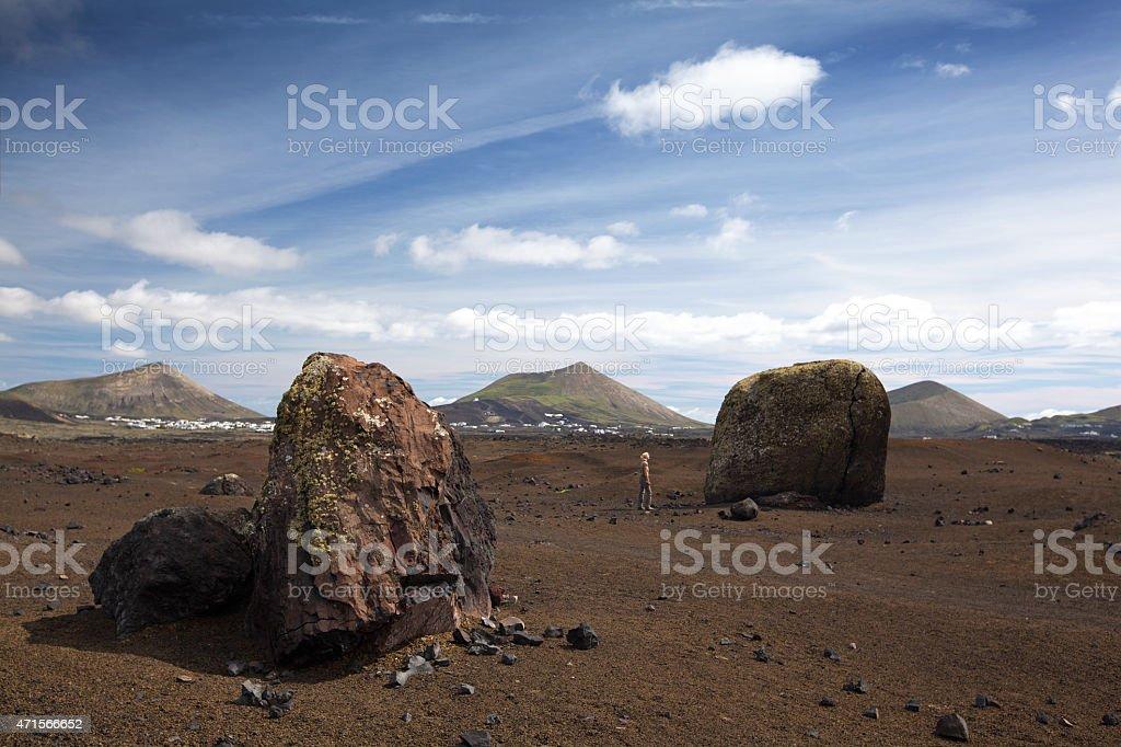 Huge volcanic bombs in Lanzarote stock photo