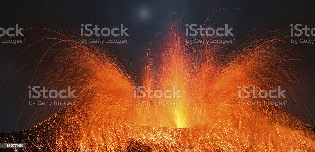 Huge volcano eruption stock photo