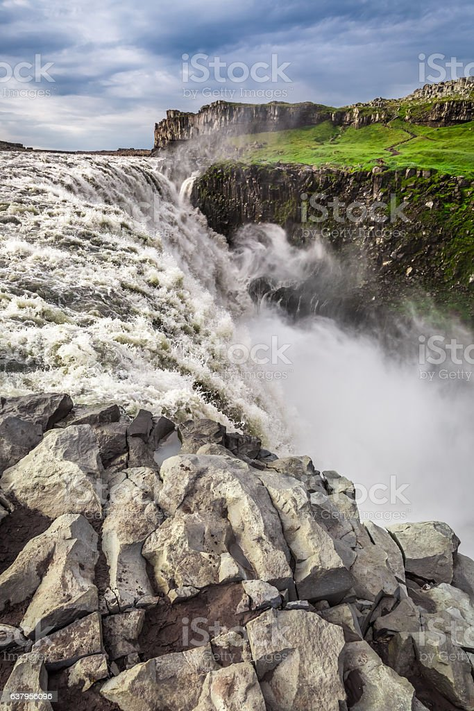 Huge waterfall Dettifoss in Iceland in summer stock photo