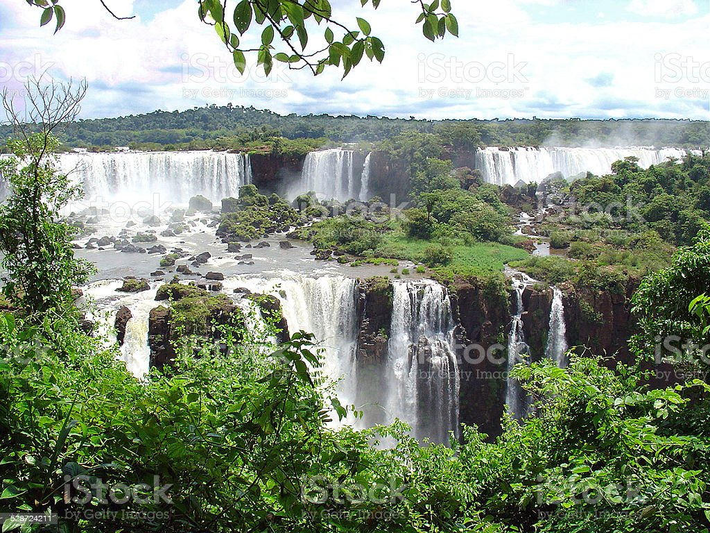 Huge waterfalls between Brazil and Argentina stock photo