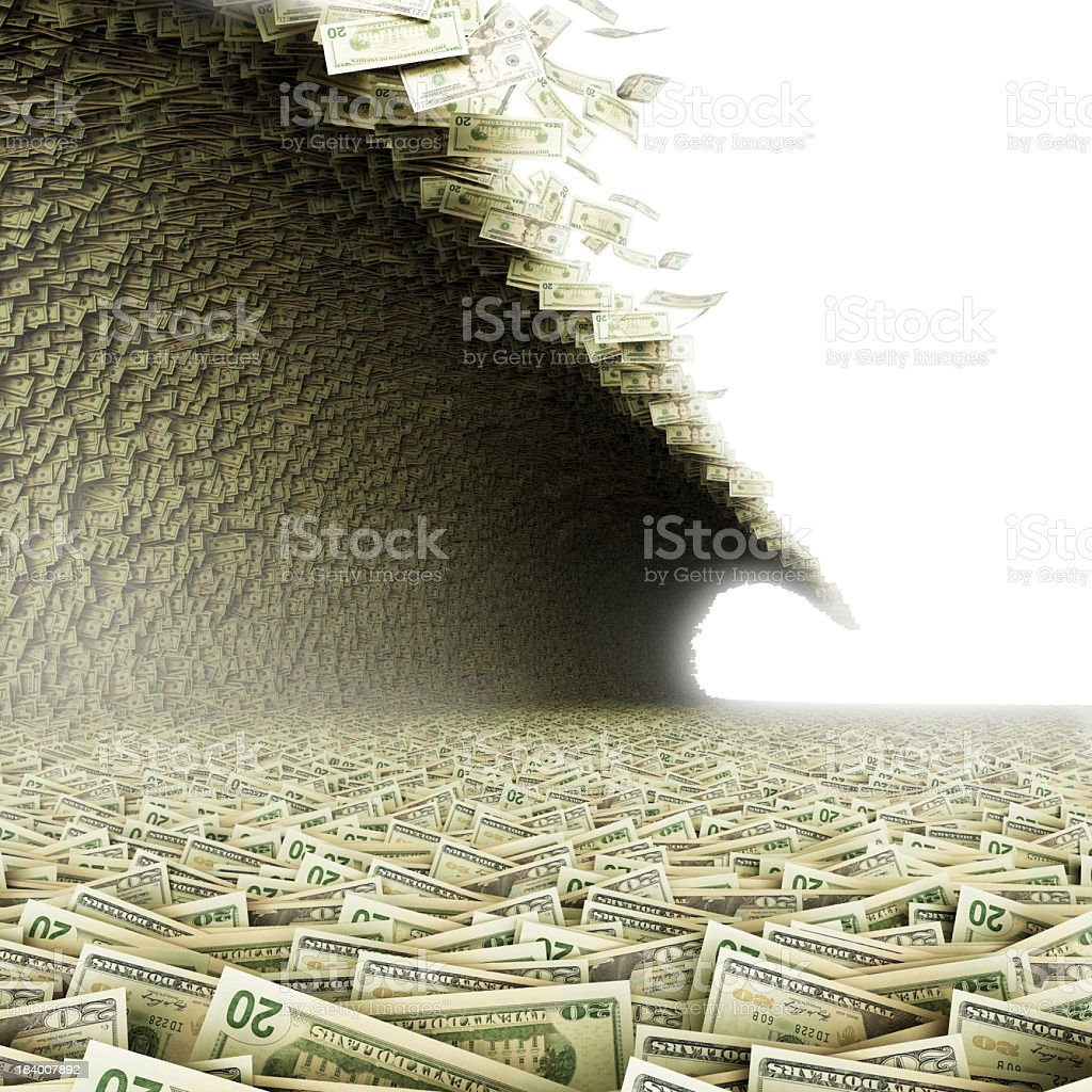 A huge wave carrying paper bills stock photo