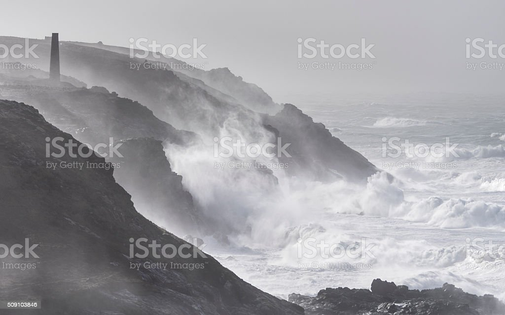 Huge waves at Pendeen Lighthouse Cornwall during Storm Imogen stock photo