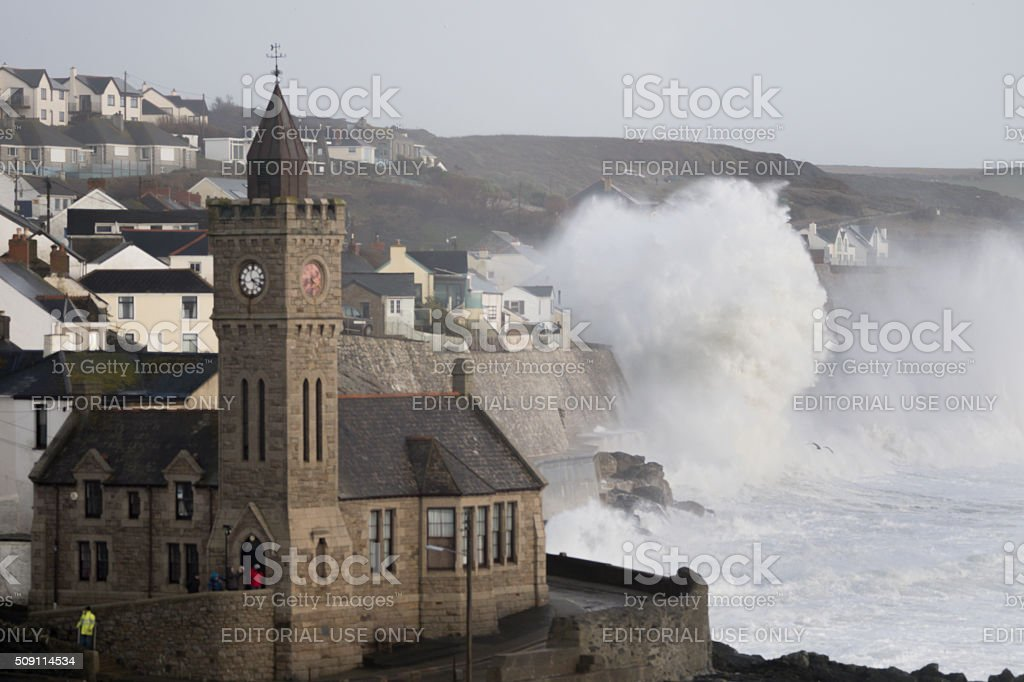 Huge waves battering Porthleven in Cornwall during Storm Imogen stock photo