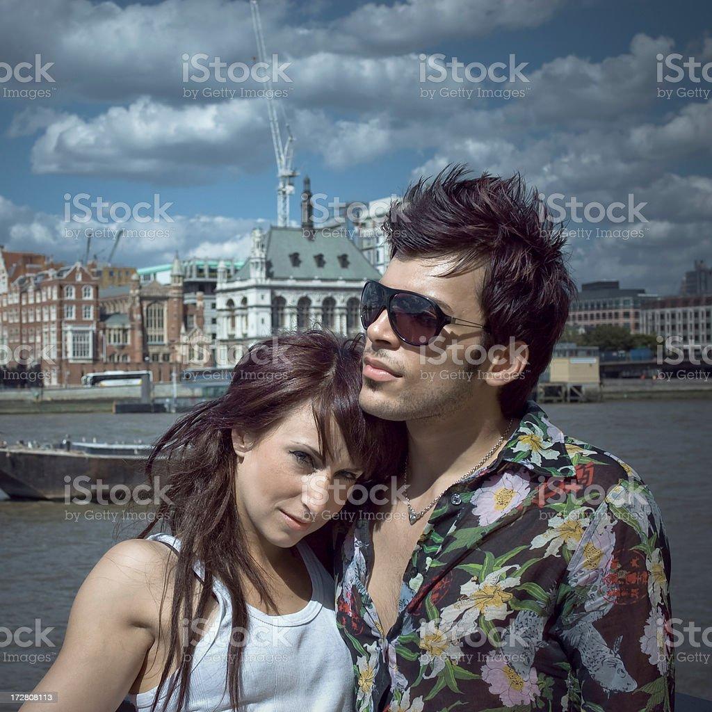 Hugging Couple London Riverside royalty-free stock photo