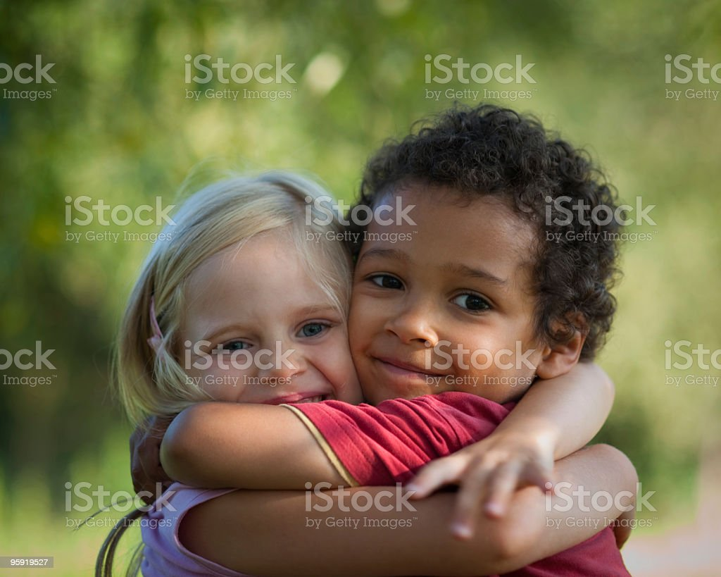 Hugging for peace royalty-free stock photo