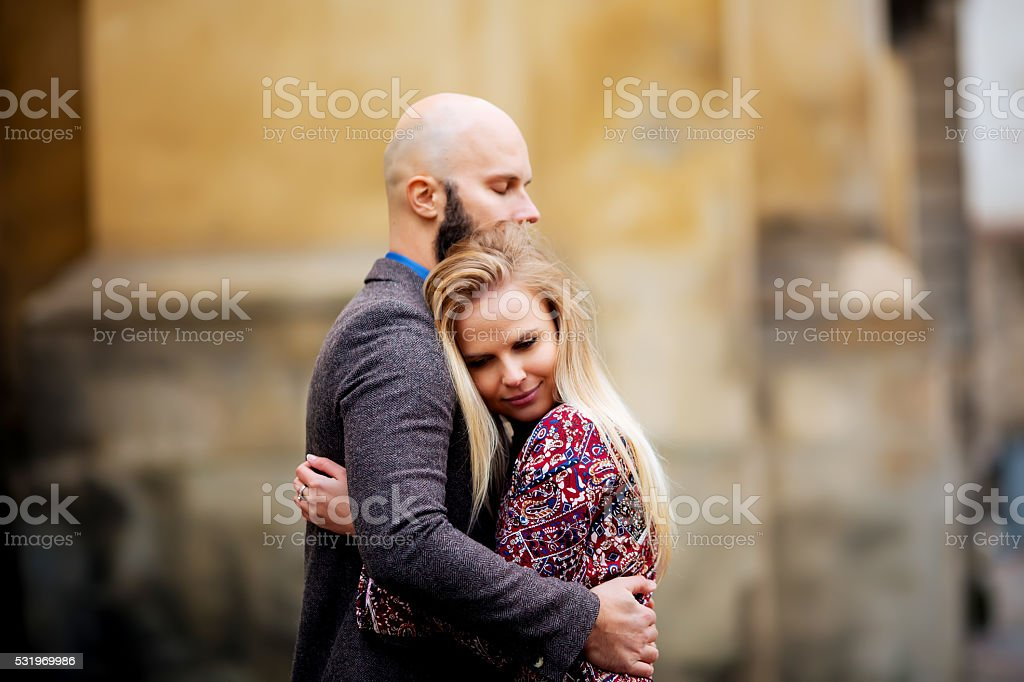hugging on the street. Selective focus. royalty-free stock photo
