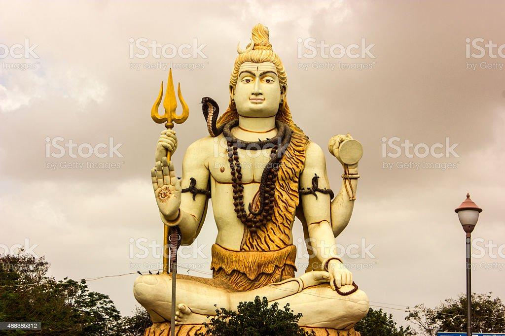 Hugh Shiva statue in Nageshwar Jyotirlinga temple in Gujrat stock photo