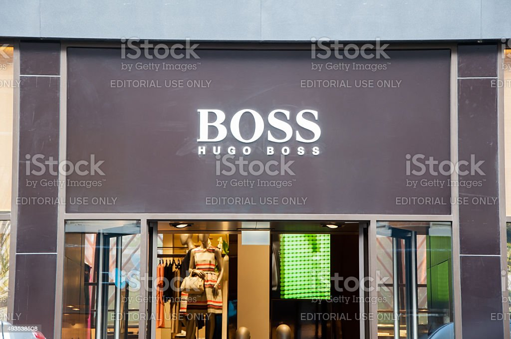 Hugo Boss signboard on the P.C.Hooftstraat shopping street, the Netherlands. stock photo