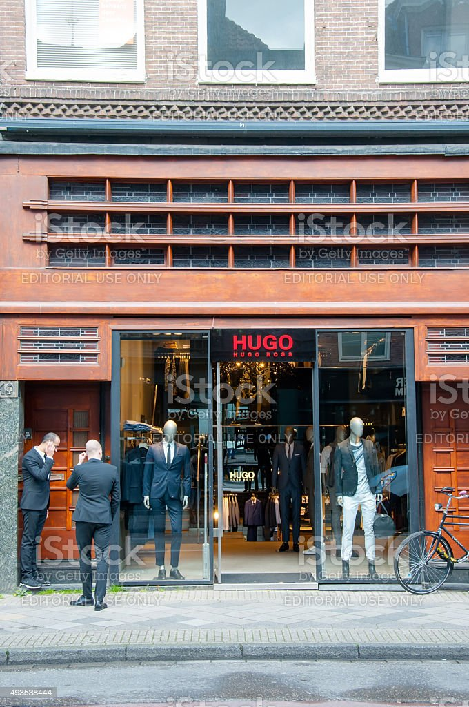 Hugo Boss store on the P.C.Hooftstraat shopping street, the Netherlands. stock photo