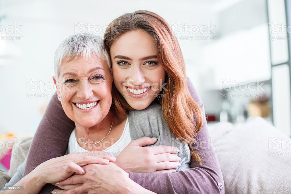 Hugs for Mom stock photo