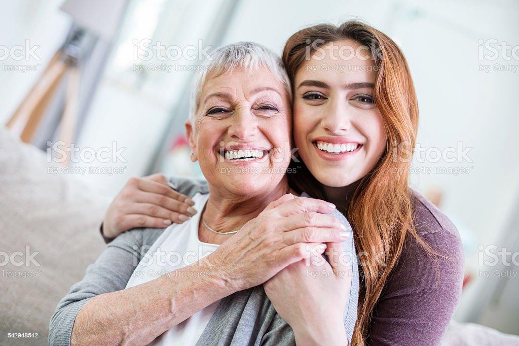 Hugs for Mom stock photo