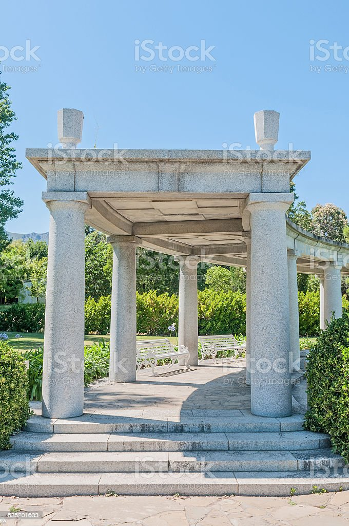 Huguenot monument in Franschoek stock photo