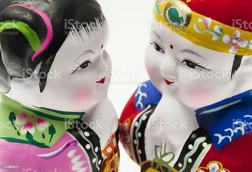 Huishan clay figurines stock photo