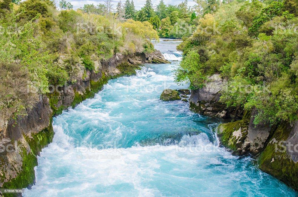 Huka Falls in New Zealand stock photo