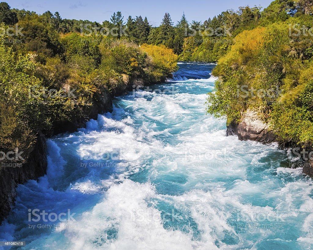 Huka Falls on the Waikato River near Taupo stock photo