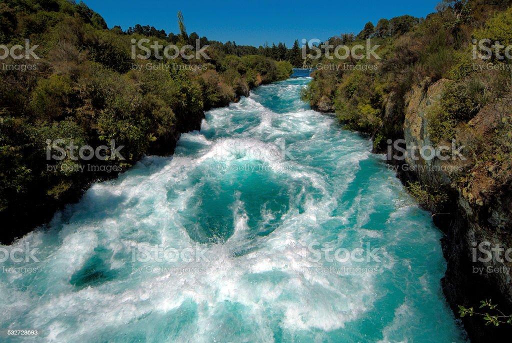 Huka Falls on the Waikato River Taupo New Zealand stock photo