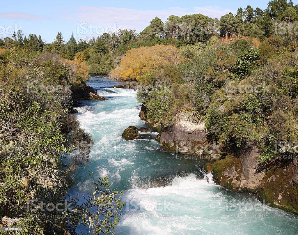 Huka Falls River, New Zealand stock photo
