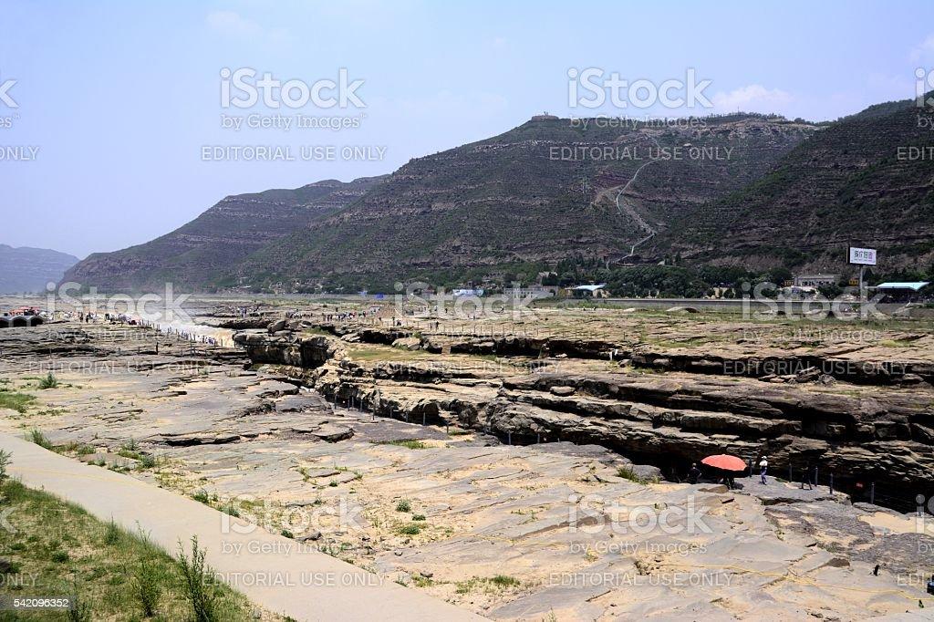 Hukou waterfall panorama, Shaanxi, China stock photo