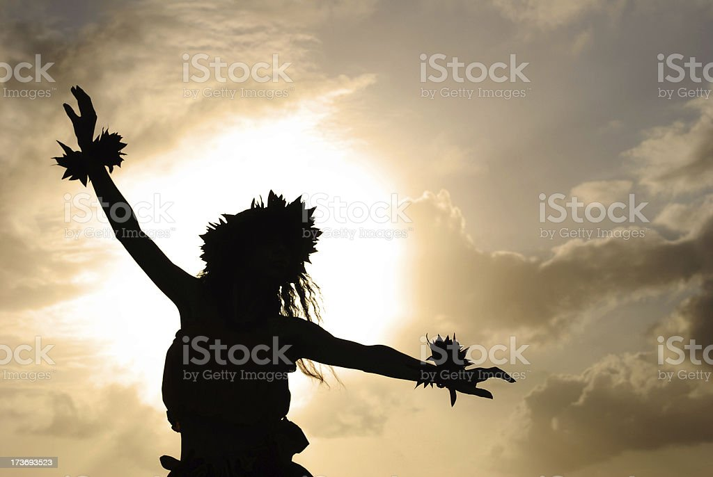 Hula Dancer Silhouette stock photo