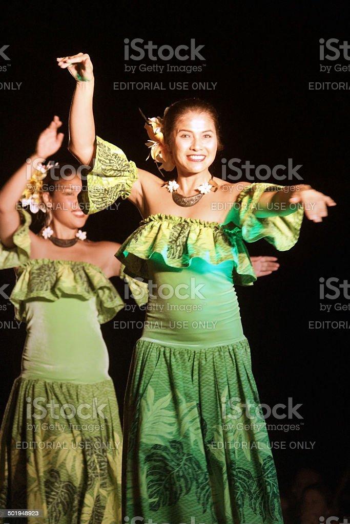 Hula Dancers at a Luau - Maui, Hawaii royalty-free stock photo