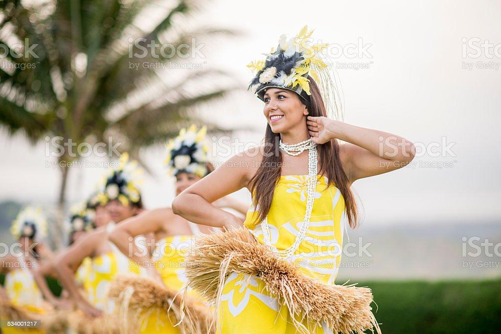 Hula Dancers from a Hawaiian Halau stock photo