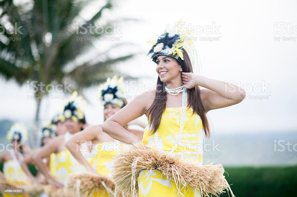 Hula Dancing Group stock photo