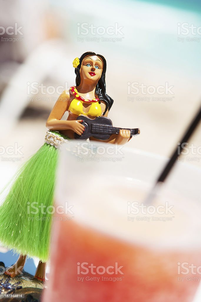 Hula girl with cocktail stock photo