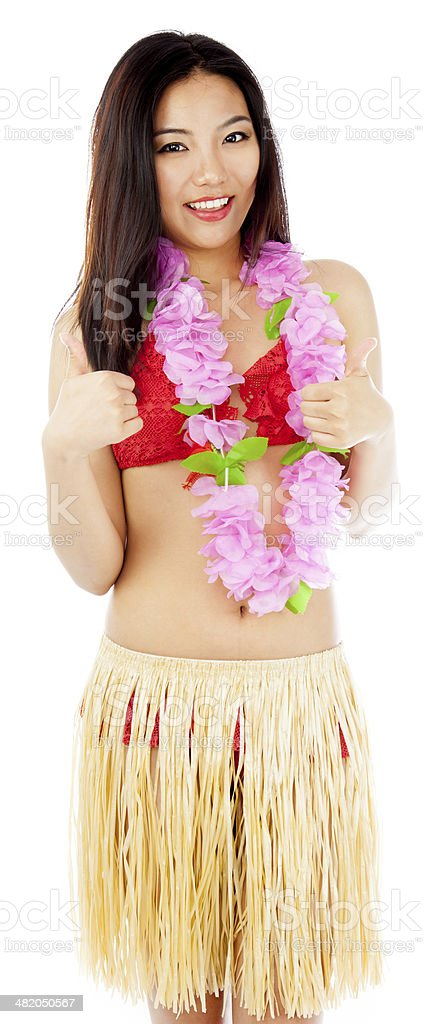 Hula Girl with flower isolated royalty-free stock photo