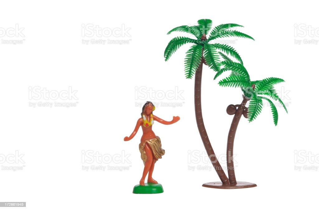 Hula Girl with Palm Tree stock photo