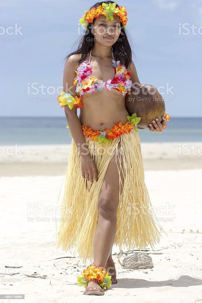 Hula Hawaii dancer on beach stock photo