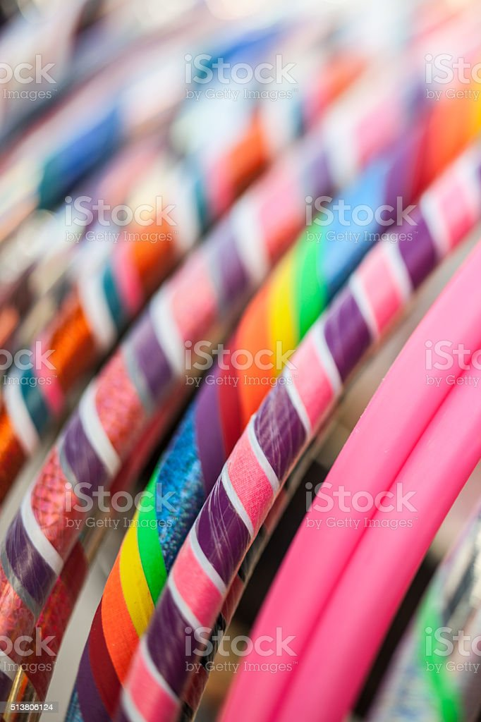 Hula hoop assortment with bright colors on display stock photo