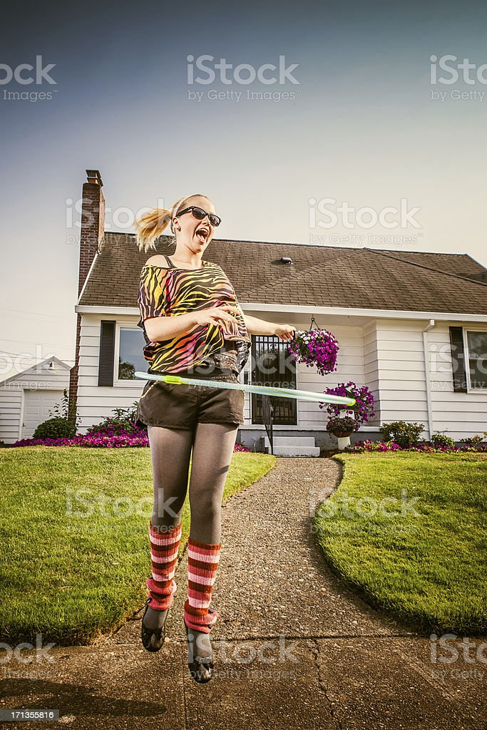 Hula Hoop Eighties Fashion Girl stock photo