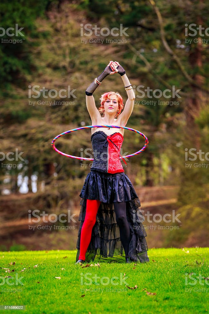 Hula Hoop in the Park stock photo