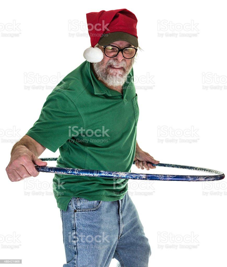 Hula Hoop Redneck Santa Hat Man stock photo