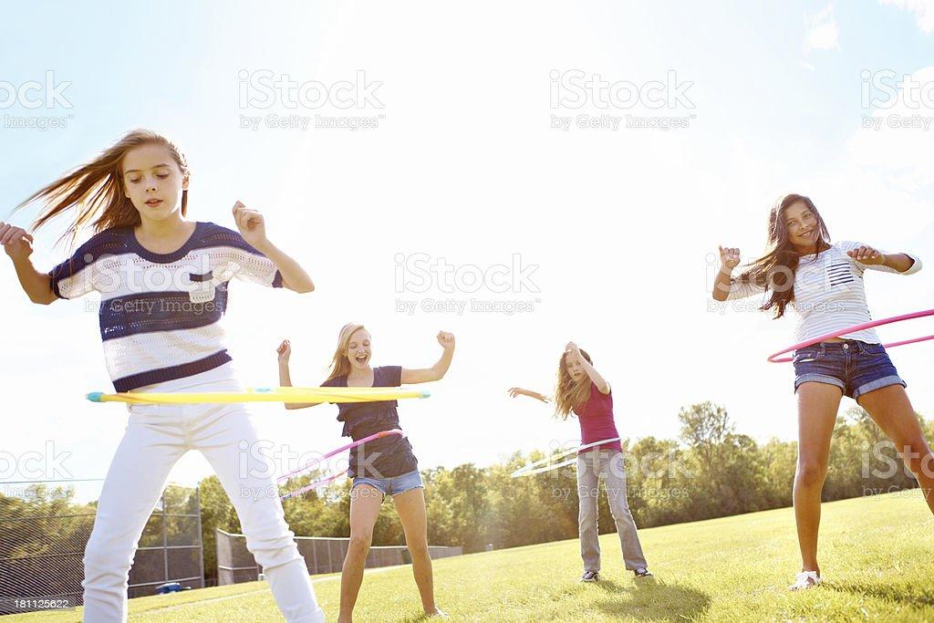 Hula hooping fun! stock photo
