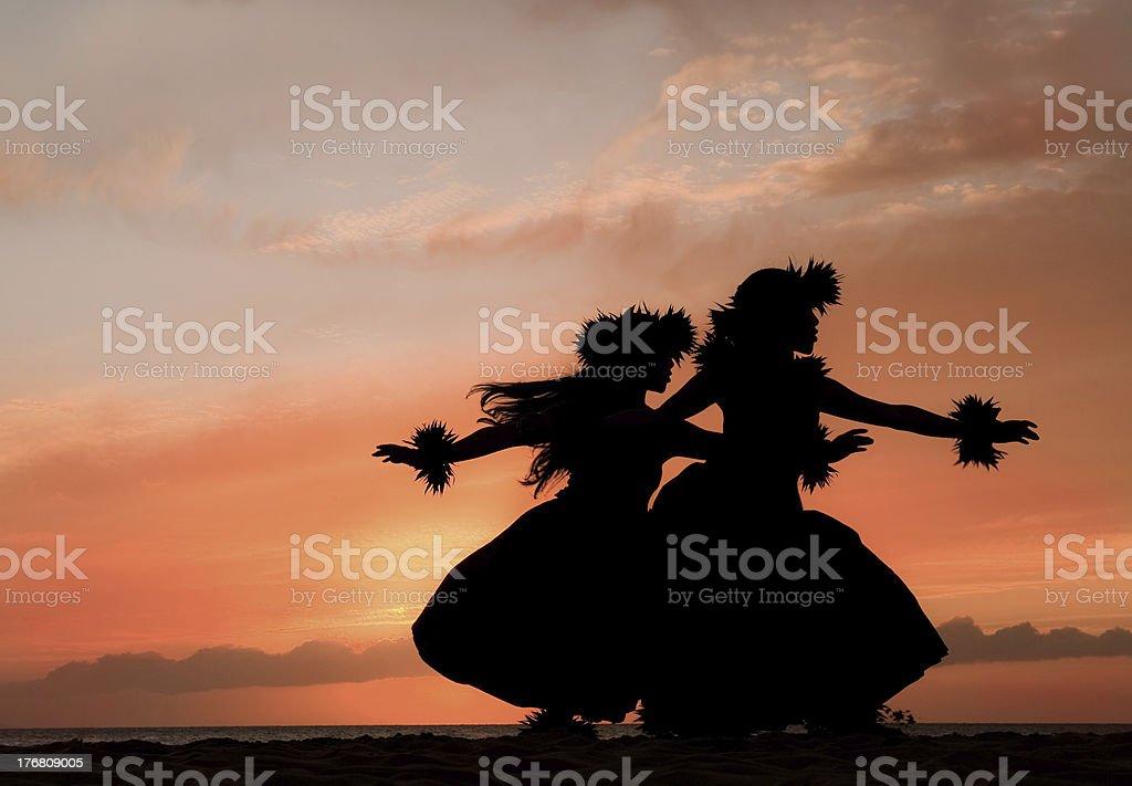 Hula Sisters Dance in Hawaiian Sunset stock photo