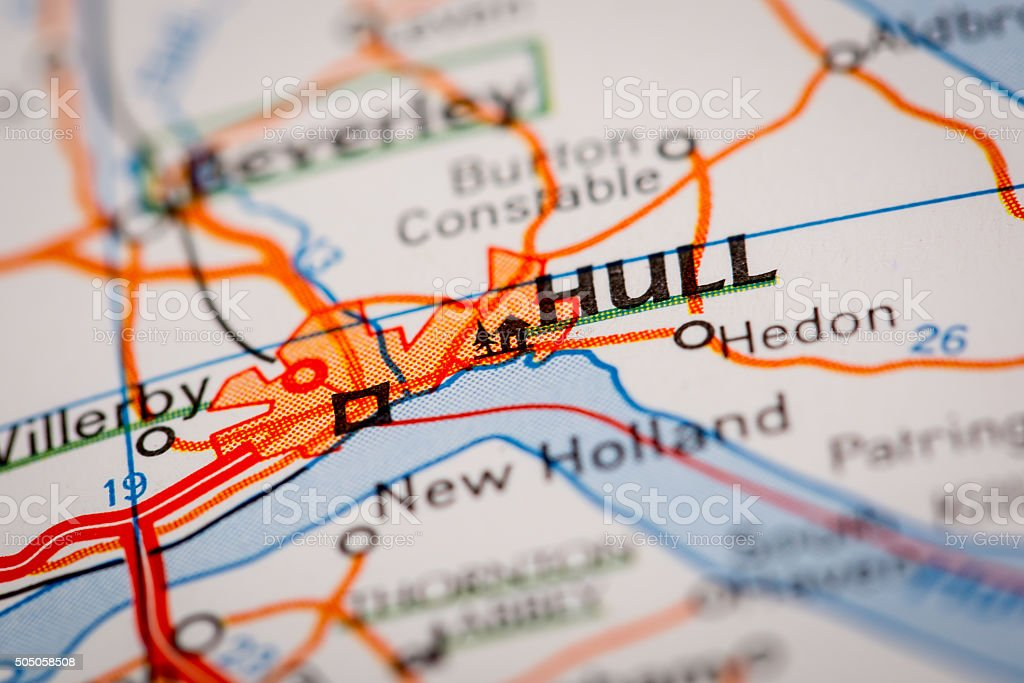 Hull City on a Road Map stock photo