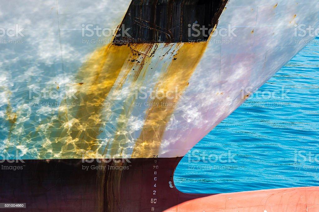 Hull of a ship stock photo