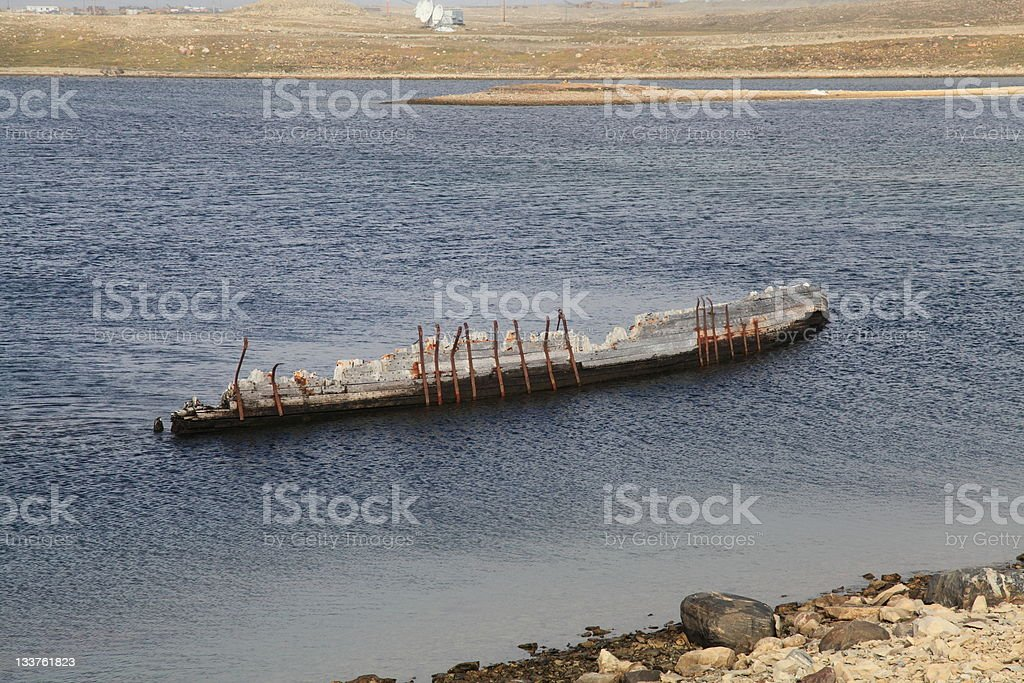 "Hull of Amundsen's ""Maud"" in Cambridge Bay, Nunavut, Canada. stock photo"