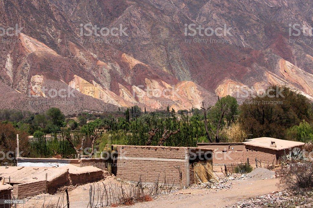 Humahuaca valley, Jujuy, Argentina, near the fourteen colors hill stock photo