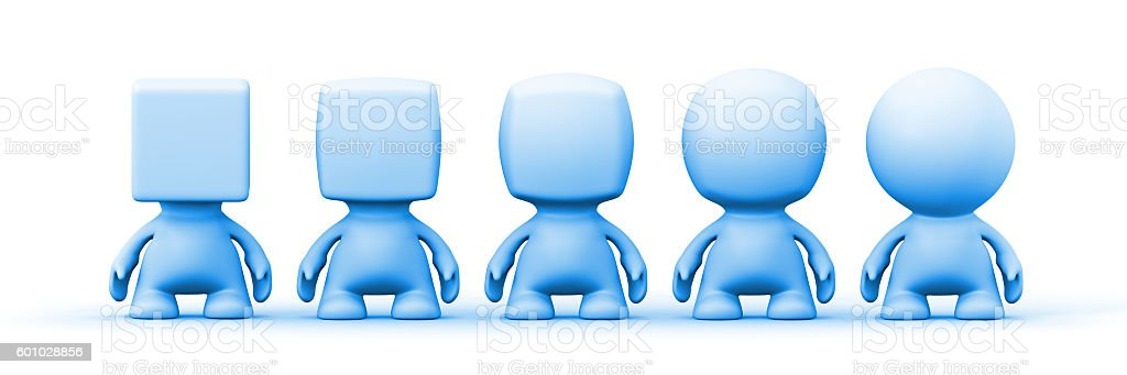 human 3d people with heads shaped from spherical to cubica stock photo