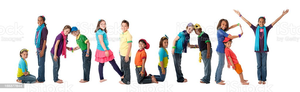 Human Alphabet Calendar: Diverse Children Colorful Letters Spell Month January royalty-free stock photo