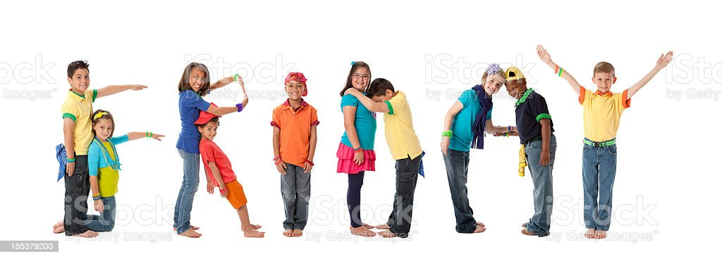 Human Alphabet Calendar: Diverse Children Font Colorful Letters Friday royalty-free stock photo