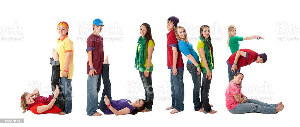 Human Alphabet Calendar: Diverse Teenager Colorful Letters Month of June royalty-free stock photo