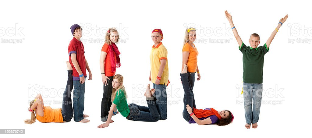 Human Alphabet Calendar: Diverse Teenager Font Colorful Letters Month July royalty-free stock photo