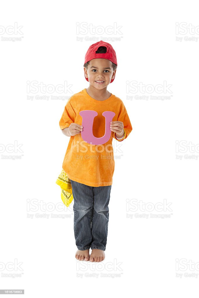 Human Alphabet: Children Bi-Racial Young Boy Font Colorful Letter U stock photo