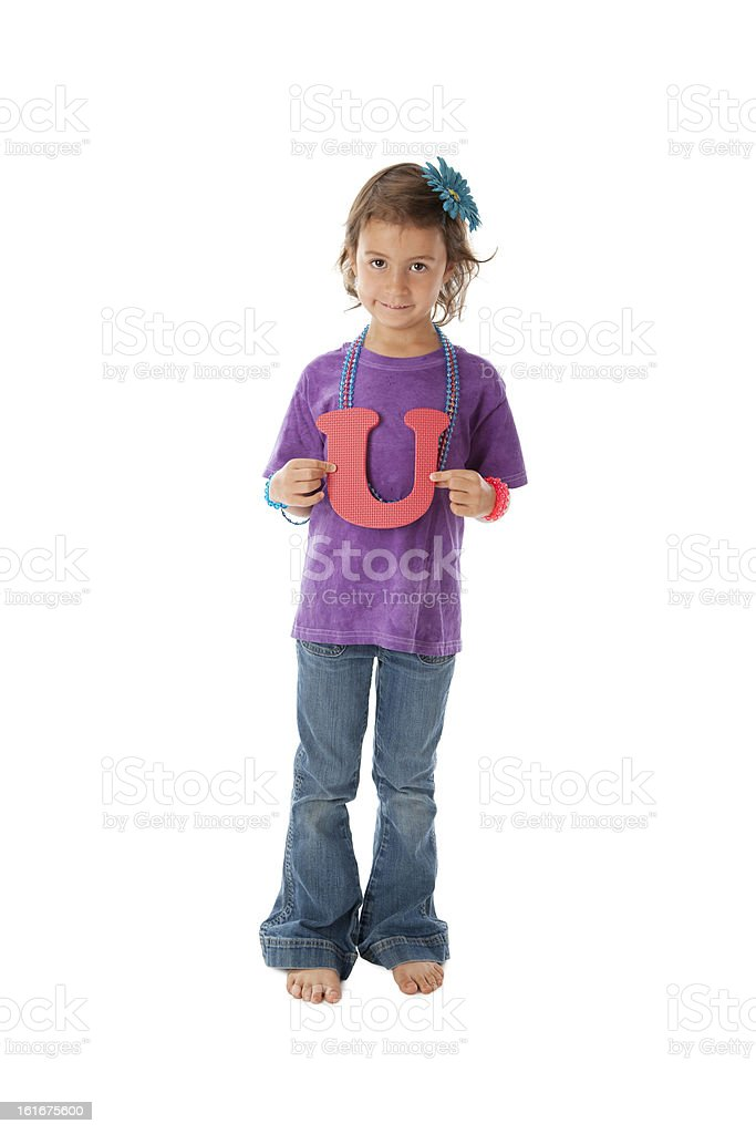 Human Alphabet: Children Caucasian Young Girl Font Colorful Lett stock photo