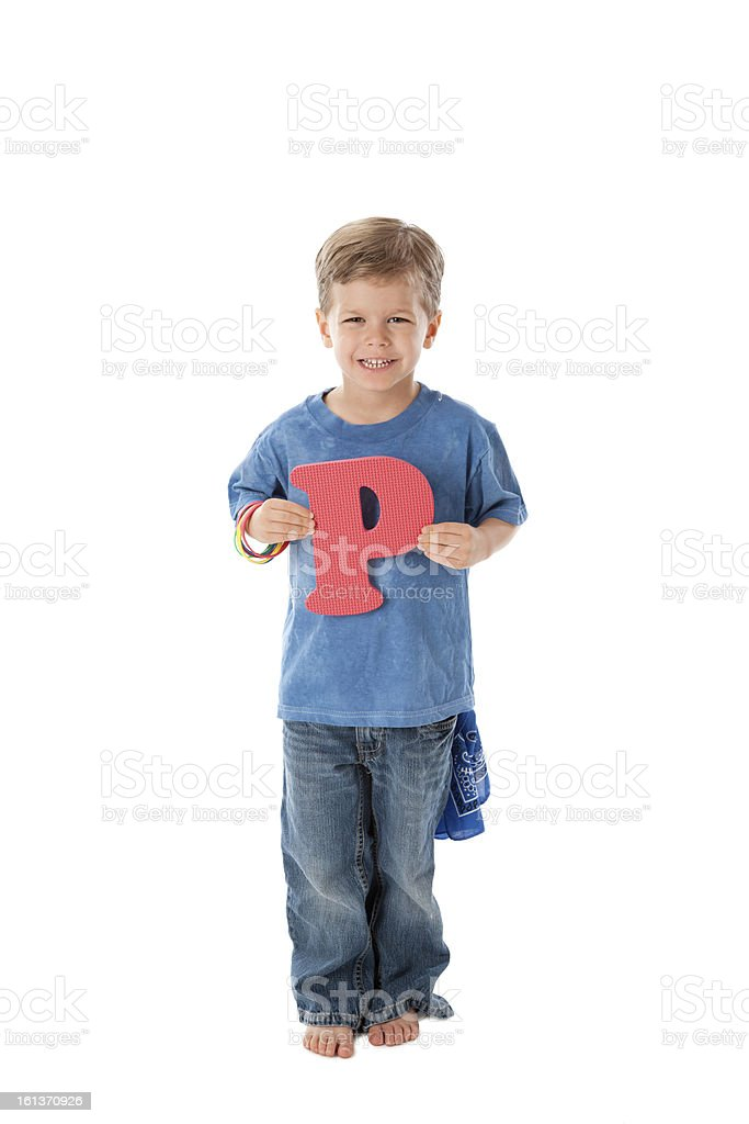 Human Alphabet: Diverse Young Children Font Colorful Letter P royalty-free stock photo