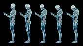 Human anatomy showing wrong postures of using the phone